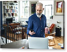 Senior Creative Professional Remote Working And Checking Phone At Home Acrylic Print by 10'000 Hours