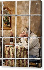 Senior Male Praying Acrylic Print by Trudy Wilkerson