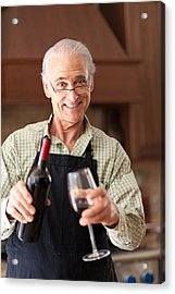 Senior Man Having A Glass Of Wine Acrylic Print by Lise Gagne