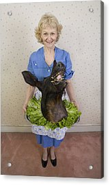 Senior Woman Holding Wild Boars Head, Portrait, High Angle View Acrylic Print by Sheer Photo, Inc