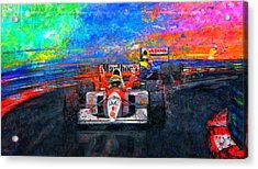 Senna For The Win Acrylic Print by Alan Greene