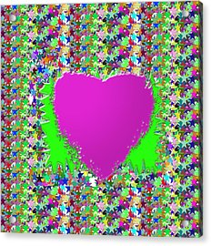 Acrylic Print featuring the photograph Sensual Pink Heart N Star Studded Background by Navin Joshi