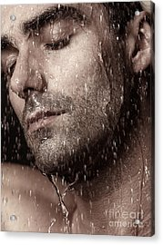 Sensual Portrait Of Man Face Under Pouring Water Acrylic Print by Oleksiy Maksymenko