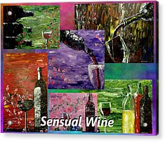 Sensual Wine Collage Acrylic Print by Mark Moore
