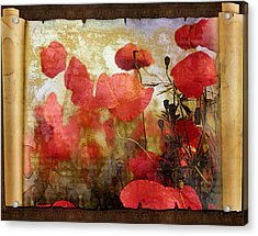 Sentimental Poppy Scroll Acrylic Print
