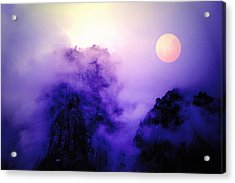 Sentinal Rock And Moon Shrouded In Mist Acrylic Print
