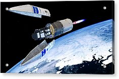 Sentinel-3 Satellite Launching Into Orbit Acrylic Print by Atg Medialab/esa