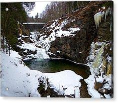 Sentinel Pine Bridge In Winter Acrylic Print