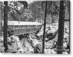 Sentinel Pine Covered Bridge - Franconia Notch State Park New Hampshire Usa Acrylic Print by Erin Paul Donovan