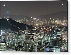 Seoul City Skyline At Night Overview Acrylic Print by Steffen Schnur