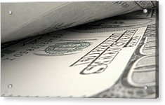 Separated Banknotes Close-up Detail Acrylic Print by Allan Swart
