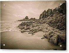Cox Bay Sepia Acrylic Print by Roxy Hurtubise