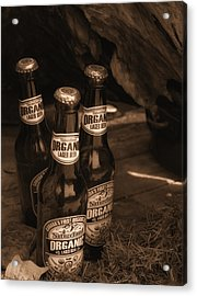 Acrylic Print featuring the photograph Sepia Bottles by Rachel Mirror