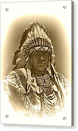 Sepia Chief Acrylic Print by Scarlett Images Photography