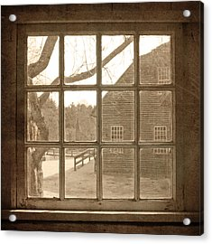 Sepia Colonial Scene Through Antique Window Acrylic Print