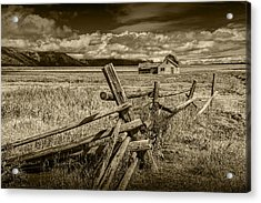 Sepia Colored Photo Of A Wood Fence By The John Moulton Farm Acrylic Print
