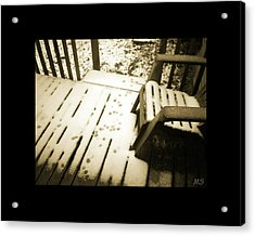 Sepia - Nature Paws In The Snow Acrylic Print by Absinthe Art By Michelle LeAnn Scott