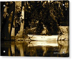 Sepia Rowboat Acrylic Print by Vinnie Oakes