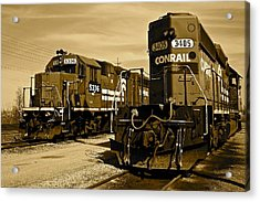 Sepia Trains Acrylic Print by Frozen in Time Fine Art Photography