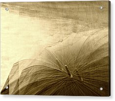 Sepia Umbrella Impressions In The Rain Acrylic Print by Suzanne Powers