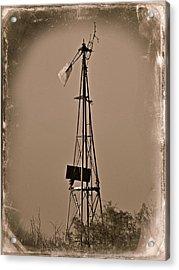 Sepia Windmill Acrylic Print by Mikki Cromer