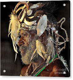 Sepik River Elder Acrylic Print by Anne Gordon