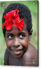 Sepik River Girl Acrylic Print by Anne Gordon
