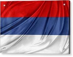 Serbian Flag Acrylic Print by Les Cunliffe