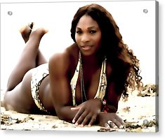 Serena Williams In The Sand Acrylic Print by Brian Reaves