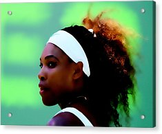 Serena Williams Match Point Acrylic Print by Brian Reaves