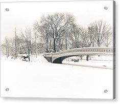 Serenity - Bow Bridge In The Snow - Central Park Acrylic Print by Vivienne Gucwa
