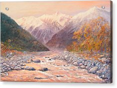 Serenity Mountains Acrylic Print by Peter Jean Caley