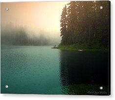 Serenity On Blue Lake Foggy Afternoon Acrylic Print
