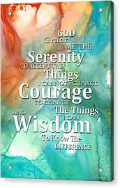 Serenity Prayer 1 - By Sharon Cummings Acrylic Print by Sharon Cummings