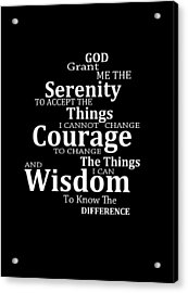 Serenity Prayer 5 - Simple Black And White Acrylic Print by Sharon Cummings
