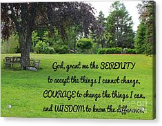 Serenity Prayer And Park Bench Acrylic Print by Barbara Griffin
