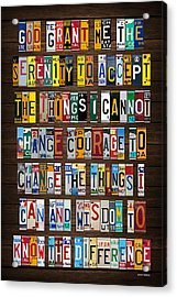 Serenity Prayer Reinhold Niebuhr Recycled Vintage American License Plate Letter Art Acrylic Print by Design Turnpike