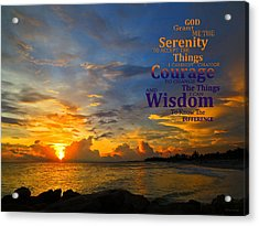 Serenity Prayer Sunset By Sharon Cummings Acrylic Print by Sharon Cummings