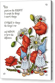 Serenity Prayer With Flowers And Gnomes Acrylic Print