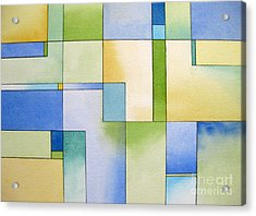 Serenity Watercolor Pen And Ink Geometric Abstract Painting Acrylic Print by Cherilynn Wood