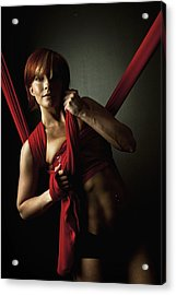 Series In Red Silk Knot Acrylic Print by Monte Arnold