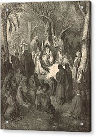 Sermon On The Mount Acrylic Print by Antique Engravings