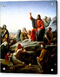 Sermon On The Mount Watercolor Acrylic Print by Carl Bloch