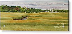 Sesuit Harbor Marshside Acrylic Print by Karol Wyckoff