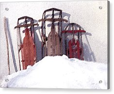 Acrylic Print featuring the photograph Set Aside Sleds by Susan Crossman Buscho
