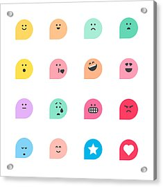 Set Of Basic Emoticons Reactions Acrylic Print by Calvindexter