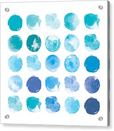 Set Of Colorful Watercolor Hand Painted Acrylic Print