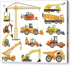 Set Of Detailed Heavy Construction And Acrylic Print by Alexyustus