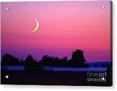 Setting Crescent Moon At Dusk Acrylic Print by Douglas Taylor