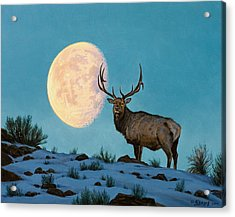 Setting Moon And Elk Acrylic Print